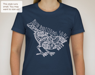 a stock image of a curvy-cut navy t-shirt with a white outline of a bird. the inside of the bird is filled with segments of paisley designs. The words youth traditional song 2015 surround the edge of the bird.